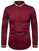 cheap -men's solid long sleeve slim fit gold embroidery design button down dress shirt ba0486-burgundy-s