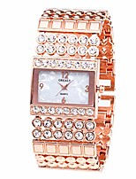 cheap -Watches for Girls,Metal Quartz Stainless Belt Watch Rectangle Dial With Diamond Watches(Rose Gold)