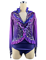 cheap -21Grams Figure Skating Top Men's Boys' Ice Skating Top Purple Spandex High Elasticity Training Competition Skating Wear Crystal / Rhinestone Long Sleeve Ice Skating Figure Skating / Kids