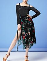 cheap -Latin Dance Skirts Split Pattern / Print Women's Training Performance Long Sleeve Natural Nylon