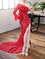 cheap -Mermaid / Trumpet Sexy Floral Engagement Prom Dress One Shoulder Long Sleeve Court Train Lace with Feather Split 2021