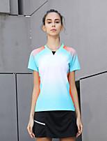 cheap -Women's Tennis Badminton Table Tennis Tee Tshirt Short Sleeve Breathable Quick Dry Moisture Wicking Sports Outdoor Autumn / Fall Spring Summer Light Blue / High Elasticity