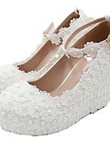cheap -Women's Wedding Shoes Wedge Heel Round Toe Wedding Walking Shoes PU Rhinestone Pearl Buckle Floral White
