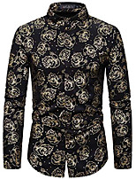 cheap -Men's Hipster Gold Rose Printed Slim Fit Long Sleeve Dress Shirts/Prom Performing Christmas Shirts