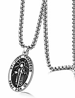 cheap -Men's Saint Jude Thaddeus Jesus Oval Medal Stainless Steel Pendant Necklace(Silver)