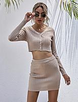 cheap -Women's Basic Plain Daily Wear Festival Two Piece Set Crop Skirt Tops