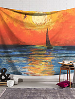 cheap -Impressionist Oil Painting Style Wall Tapestry Art Decor Blanket Curtain Hanging Home Bedroom Living Room Decoration Polyester Landscape Sea Ocean Boat Sunset