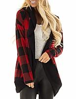 cheap -Women's Tartan Hooded Jacket Thick Warm Hoodie Sweatshirt Full Zip Full Sleeve Hoody Jacket Coat(Red,8 UK/M CN)