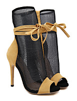 cheap -Women's Boots Stiletto Heel Peep Toe Booties Ankle Boots Roman Shoes Daily Mesh Color Block Yellow / Booties / Ankle Boots