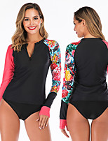 cheap -Women's Rash Guard Dive Skin Suit Elastane Swimwear Breathable Quick Dry Long Sleeve 2 Piece - Swimming Surfing Water Sports Painting Autumn / Fall Spring Summer