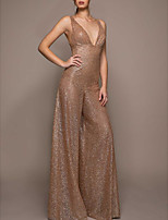 cheap -Jumpsuits Sparkle Sexy Engagement Formal Evening Dress V Neck Sleeveless Floor Length Sequined with Sequin 2021
