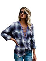 cheap -Women's Blouse Shirt Check Long Sleeve Patchwork V Neck Tops Basic Top Blue Red