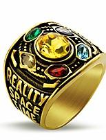 cheap -Marvel Avengers Thanos Rings for Men Gold Stainless Steel Infinite Power Ring Gauntlet Crystal Ring Infinity War Men Keyring Size S