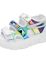 cheap -Women's Sandals Flat Heel Round Toe Classic Daily PU Solid Colored White Black