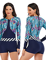 cheap -Women's Rash Guard Dive Skin Suit One Piece Swimsuit Elastane Swimwear Breathable Quick Dry Long Sleeve Back Zip - Swimming Surfing Water Sports Painting Autumn / Fall Spring Summer