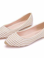 cheap -Women's Wedding Shoes Flat Heel Pointed Toe Vintage Sexy Minimalism Wedding Party & Evening PU Rhinestone Pearl Sparkling Glitter Solid Colored Beige