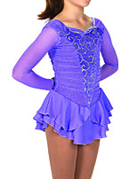 cheap -Figure Skating Dress Women's Girls' Ice Skating Dress Blue Patchwork Spandex High Elasticity Training Competition Skating Wear Patchwork Crystal / Rhinestone Long Sleeve Ice Skating Figure Skating