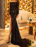 cheap -Mermaid / Trumpet Glittering Sexy Engagement Formal Evening Dress One Shoulder Long Sleeve Court Train Sequined with Split 2020