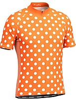 cheap -21Grams Men's Short Sleeve Cycling Jersey Red Blue Orange Polka Dot Bike Top Mountain Bike MTB Road Bike Cycling Breathable Sports Clothing Apparel / Stretchy / Athletic