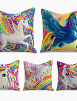 cheap -5 Pcs Cushion Cover Linen Soft Decorative Square Throw Pillow Cover Cushion Case Pillowcase for Sofa Bedroom Horse 45 x 45 cm (18 x 18 Inch) Superior Quality Machine Washable Fantasy