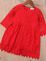 cheap -Kids Toddler Little Girls' Dress Floral Solid Colored Ruffle Lace Hole Red Above Knee 3/4 Length Sleeve Basic Cute Dresses Children's Day Loose 3-8 Years
