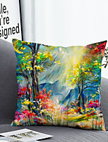 cheap -1 Pc Cushion Cover with or without Pillow Insert Double Side Print Colorful Trees38x38cm / 45x45cm Polyester