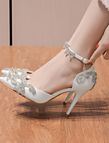 cheap -Women's Sandals Stiletto Heel Pointed Toe Wedding Pumps Faux Leather Rhinestone Pearl Solid Colored White