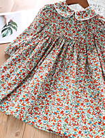 cheap -Kids Toddler Little Girls' Dress Floral Graphic Solid Colored Print Blue Red Above Knee Long Sleeve Basic Cute Dresses Children's Day Regular Fit 3-8 Years