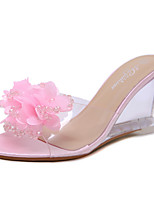 cheap -Women's Sandals Wedge Heel Peep Toe Wedge Sandals Classic Daily PU Rhinestone Flower Solid Colored Black Pink Gold