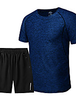 cheap -Men's Hiking Tee shirt with Shorts Short Sleeve Crew Neck Tee Tshirt Clothing Suit Outdoor Lightweight Breathable Quick Dry Soft Summer Polyester Stripes Dark Grey Yellow Blue Fishing Climbing Running