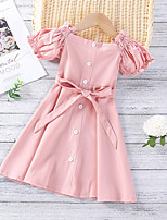 cheap -Toddler Little Girls' Dress Solid Colored Yellow Blushing Pink Midi Short Sleeve Sweet Dresses Regular Fit