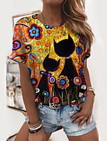 cheap -Women's T shirt Cat Graphic 3D Print Round Neck Tops Basic Basic Top Yellow