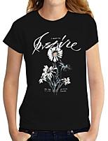 cheap -Women's T shirt Graphic Text Daisy Print Round Neck Tops Basic Basic Top Black