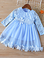 cheap -Kids Toddler Little Girls' Dress Floral Patchwork Solid Colored Peplum Ruffle Patchwork Blue Above Knee Long Sleeve Basic Cute Dresses Children's Day Regular Fit 3-8 Years
