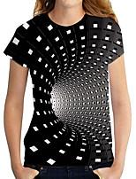 cheap -Women's T shirt Graphic Geometric 3D Print Round Neck Tops Basic Basic Top Black