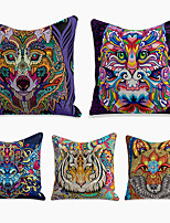cheap -Cushion Cover 5PC Linen Soft Decorative Square Throw Pillow Cover Cushion Case Pillowcase for Sofa Bedroom 45 x 45 cm (18 x 18 Inch) Superior Quality Machine Washable Fantasy