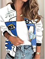 cheap -Women's Color Block Print Active Spring &  Fall Jacket Regular Daily Long Sleeve Air Layer Fabric Coat Tops White
