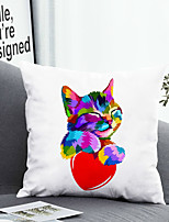cheap -1 Pc Cushion Cover with or without Pillow Insert Double Side Print Colorful Cat Heart 38x38cm / 45x45cm Polyester