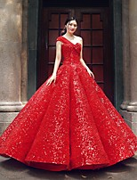 cheap -Ball Gown Luxurious Sparkle Quinceanera Formal Evening Dress One Shoulder Sleeveless Floor Length Sequined with Pleats Sequin 2021