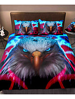 cheap -Eagle Print 3-Piece Duvet Cover Set Hotel Bedding Sets Comforter Cover with Soft Lightweight Microfiber, Include 1 Duvet Cover, 2 Pillowcases for Double/Queen/King(1 Pillowcase for Twin/Single)