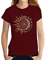 cheap -Women's T shirt Graphic Print Round Neck Tops Basic Basic Top Black Red