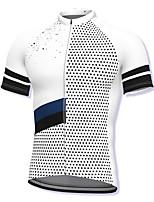 cheap -21Grams Men's Short Sleeve Cycling Jersey Spandex White Polka Dot Bike Top Mountain Bike MTB Road Bike Cycling Breathable Quick Dry Sports Clothing Apparel / Athleisure