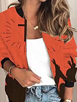 cheap -Women's Print Print Active Spring &  Fall Jacket Regular Party Long Sleeve Air Layer Fabric Coat Tops Orange