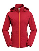 cheap -Women's Hoodie Jacket Hiking Jacket Outdoor Solid Color Waterproof Lightweight Windproof Breathable Jacket Top Full Length Visible Zipper Fishing Climbing Running Black Red Army Green Grey Khaki