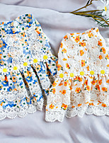 cheap -Dog Cat Dress Lace Flower Elegant Adorable Cute Dailywear Casual / Daily Dog Clothes Puppy Clothes Dog Outfits Breathable Blue Orange Costume for Girl and Boy Dog Polyester XS S M L XL
