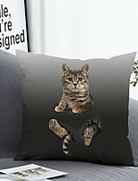 cheap -Cushion Cover with or without Pillow Insert Double Side Print 38x38cm / 45x45cm Polyester Cat Break
