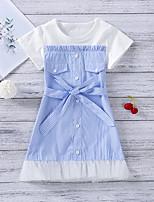 cheap -Toddler Little Girls' Dress Striped Print Light Blue Midi Short Sleeve Sweet Dresses Regular Fit