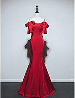 cheap -Mermaid / Trumpet Reformation Amante Sexy Engagement Formal Evening Dress Spaghetti Strap Sleeveless Sweep / Brush Train Italy Satin with Bow(s) 2021