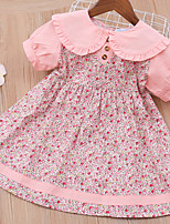 cheap -Kids Toddler Little Girls' Dress Graphic Solid Colored Print Blushing Pink Above Knee Short Sleeve Active Cute Dresses Children's Day Loose 3-8 Years