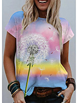 cheap -Women's T shirt Graphic Scenery Dandelion Print Round Neck Tops Basic Basic Top Light Blue